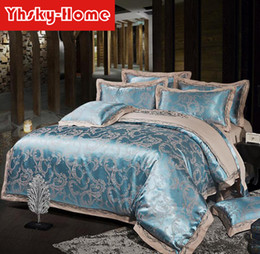 satin stripe bedding set UK - New High Quality Cotton Satin jacquard luxury bedding sets embroidery 4pcs Wedding Festive Bedding Supplies duvet cover bed sheet sets