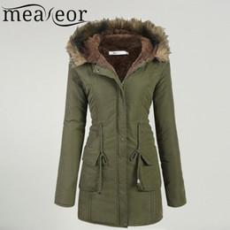 Wholesale faux fur lined parka coats resale online - Meaneor Women s Winter Coat Casual Faux fur Hooded Warm Drawstring Waist Slim Coat Fleece Lined Parka Female Pocket