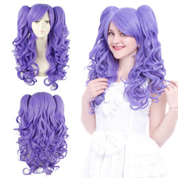 purple hair lolita cosplay 2019 - ePacket free shipping >Women Lolita 2 Ponytail Wig Clip On In Purple Long Wavy Curly Hair Cosplay Wigs discount purpl