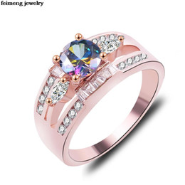 Fashion Jewelry Engagement Rings NZ - Wholesale Fashion Noble Cubic Double row zircon Paved Engagement Rings Sets Rose Gold Color Crystal Wedding Jewelry For Women
