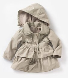 Wholesale Kids clothing New Baby Toddler girls lapel Waistband Windbreaker Coat Outerwear Jacket for winter or autumn