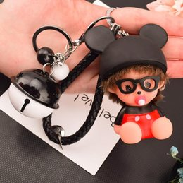 $enCountryForm.capitalKeyWord Canada - 10 styles Creative naughty pacifier doll bell Key Chain Accessories cartoon Tassel Key Ring bell Car Keychain toy Charm