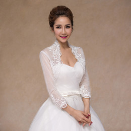 a9e5dbe3f58 2018 New Ivory Summer Lace Bridal Boleros Long Sleeves Women Ladies Wedding  Jackets Plus Size For Wedding Party Christmas Day