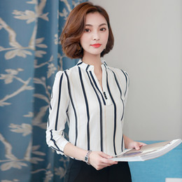 wholesale chiffon flowers Australia - 2018 New For Women Spring blouse shirts chiffon with long sleeves female Costumes Office OL Tops in stripes and peas flower autumn feminine