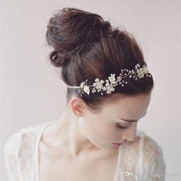 $enCountryForm.capitalKeyWord NZ - Real Photo Handmade Fairy Hairband Pearls Beaded Bridal Wedding Hair Accesory with Ribbons Silver Rose Gold High Quality Headband Headpieces