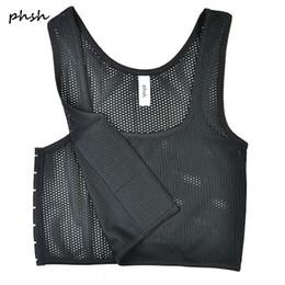fb77d2e74 PHSH Lésbica Tomboy Fabrice Malha Respirável Respirável Fichário 3 Fivelas  Espartilho Trans Cosplay Breast Binder Vest