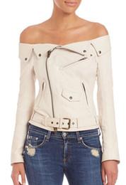 Wholesale knit sleeve faux leather jacket resale online - Sexy Off Shoulder Long Sleeve PU Biker Jacket Black White Motorcycle Bomber Girl Leather coat