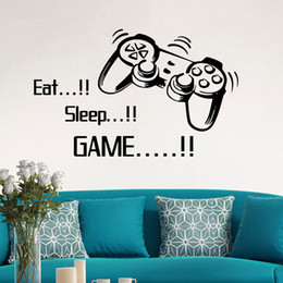 Plane Handles NZ - EAT SLEEP GAME Handle Wall Stickers Wallpapers Waterproof Self-adhesive Can Be Removable Bedroom Living Room Background Decoration