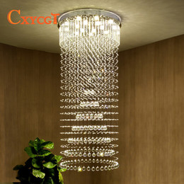 Discount lounge lights - CXYCGT K9 Crystal Chandelier Villa Lobby Lounge Dining Room Living Room Lamp Double Staircase Long Crystal Chandelier Li