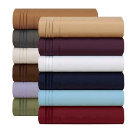 Venta al por mayor de 12 colores gemelos ~ rey de Califonia egipcio 1800 cuentos juegos de cama de 4 piezas sábanas de bolsillo profundo juegos de cama de la reina rey edredón conjunto