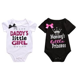 Chinese  Baby Bronzing Rompers Letters Printed Summer 100% Cotton Jumpsuit Girls MUMMY'S LITTLE PRICESS Short Sleeve Top Tee 0-18M manufacturers