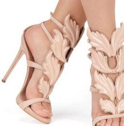 Cheap Nude Sandals UK - Top Brand Summer New Design Women Fashion Cheap Gold Silver Red Leaf High Heel Peep Toe Dress Sandals Shoes Pumps Women