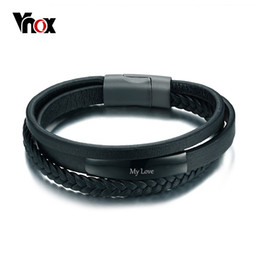 engraved bracelets for men NZ - Vnox Genuine Leather Bracelet & Bangle for Men Multi-Layer Leather ID Identification Male Casual Jewelry Engraved Service Y1891709