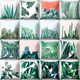 Violet plants online shopping - 16 Styles cm Green Plant Cushion Covers Linen Bedroom Seat Decorative Pillow Home Decor Kitchen Accessories Party Decoration