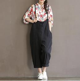 9bd5b20b69d Women Fashion Loose Wide High Waist Pants Rompers 2018 Casual Cotton Linen  Womens Baggy Jumpsuit Overalls Strap Jumpsuits black khaki