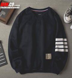590ab0603f9 2016 striped Men Fashion longsleeve Cotton Sweatshirt Thom Brown Hot Sale  Mens Shirts Blue Grey black