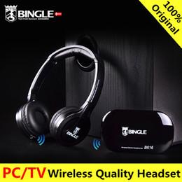 Wireless Headphone Tv Canada - Original bingle B616 Computer TV Earphone Multifunction Wireless Headset Headphone with FM Radio for MP3 PC TV Audio