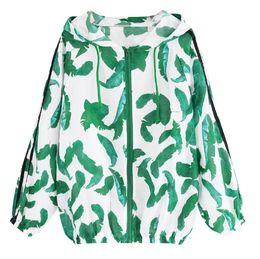 Zippers Wholesalers NZ - Women Long Sleeve Thin Skinsuits Hooded Zipper Leaf Print Splicing hooded windbreaker Patchwork Pockets Coat cortaviento mujer