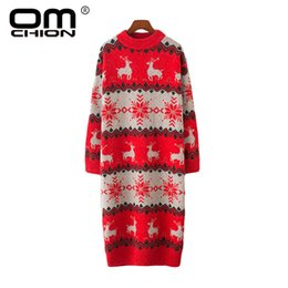 b5fa960e68 OMCHION 2018 Autumn Winter Ugly Christmas Sweater Women Half Turtleneck  Knitted Long Pullover Deer Snow Korean Jumpers LMM48