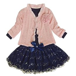 Chinese  Baby Girls Coat+T-shirt+Skirt Dress Tutu Party Set Suit Pink Clothes Fashion manufacturers