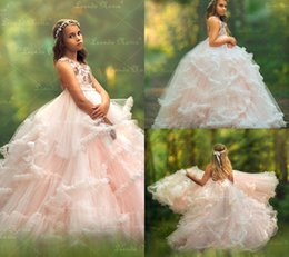 gorgeous girls dresses for weddings NZ - Lovely Vintage Girls Pageant Dresses Gorgeous Tiered Skirts Princess Flower Girl Dresses For Wedding Lace 3D Flower Pearls Tulle Sweep Train