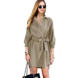 Fashion Vestidos 2019 Autumn Women s Oversize Blouse Dresses With Belt Turn  Down Collar Ladies Shirts Office Work Short Dress 622cd8242e82