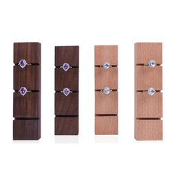 displays for boutiques NZ - Crude Wood Ring Organizer Walnut Beech Jewelry Rings Display Holder Stand for Boutique Shop Counter Showcase Shelf Trade Show Exhibition