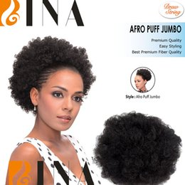 Wholesale BINA Dount chignon ponytail curly synthetic hair bun extensions updo clip in hairpieces draw string afro puff jumbo