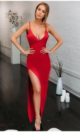 Red Dress V Neck Straps Australia - Women Sexy Club Long Dress V-Neck Spaghetti Strap High Split Red Summer Maxi Dress Robe Femme Backless Party Bodycon Dress