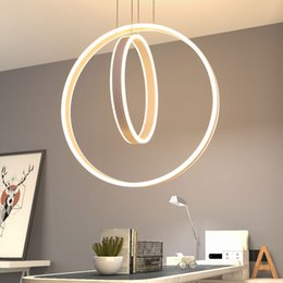 Discount modern kitchen island lighting - Wire Hanging Lamp chandelier light fixtures Creative round Acrylic Wave Shape Island LED Ceiling Pendant Light Modern wi