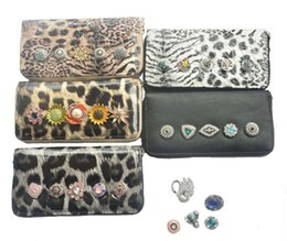 leopard print jewelry NZ - New Black NOOSA Interchangeable Jewelry Leopard Print PU Wallet with 18-20mm Ginger Snap Button Women Wallet matching snaps for you
