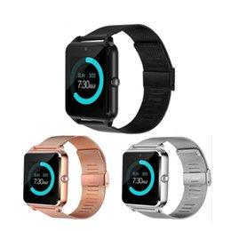 Bluetooth Smart Watch Sim Australia - Z60 Bluetooth Smart Watch Wireless Smart Watches Stainless Steel For IOS Android Support SIM TF Card Camera Fitness Tracker with Retail Box