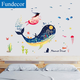 Discount baby girl room wall stickers - [Fundecor] Submarine Whale Animal Wall Sticker For Kids Rooms Baby Girls Bedroom Bathroom Tiles Wall Decals Mural DIY Ho