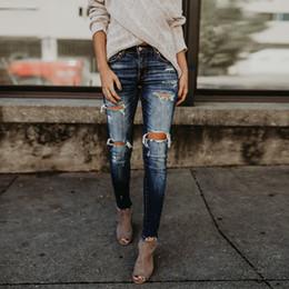 $enCountryForm.capitalKeyWord NZ - Women Mid Waisted Skinny Hole Denim Jeans Stretch slim Fit Pants Calf Length Jeans Fashion trousers Winter Spring Elastic F80