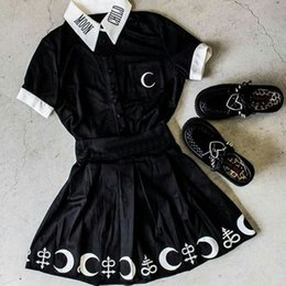 Children S Shirts NZ - Gothic Blouse Black Moon Child Print Short Sleeve Loose Casual Female Shirts Plus Size S-5XL Darkness Summer Chic Goth Blouses