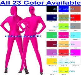 Xl Full Body Suits Australia - Sexy 23 Color Lycra Spandex Suit Catsuit Costumes Unisex Full Bodysuit Costumes Sexy Body Suit Cosplay Costumes With Black Mesh Eyes DH032