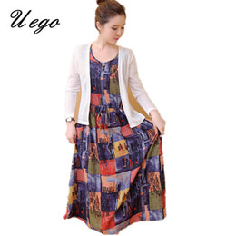 36d1b70ddba Uego 2018 Fashion Women Spring Dress Print Floral Pattern Cotton Linen  Ladies Casual Dress Plus Size M-5XL Two Piece Set