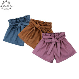 $enCountryForm.capitalKeyWord Canada - Korean Style Kids Shorts Ruffle High Waist Summer Baby Girls Short Trousers Children Corduroy Shorts with Belt