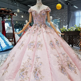 $enCountryForm.capitalKeyWord UK - 2019 Pink Ball Gown Party Dresses Off Shoulder Sweetheart Evening Dresses With Crystal Necklace Curve Shape Prom Dress Girl Pageant Dress