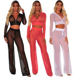 China Summer Women Two Piece Sets Tracksuits Hoodie Crop Top And Long Pants Sexy Sheer Mesh Sweatshirts Long Sleeve Night Club Suits supplier full sleeve crop tops suppliers
