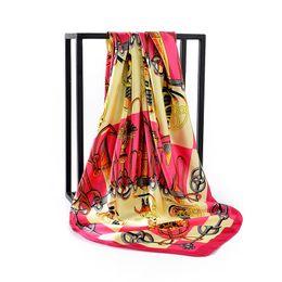 140bedfc5fe Luxury Brand Satin Women Scarf New Designer Square Scarves Muslim Hijab Shawls  Head Wraps Print Lady Scarves Collar Headbands Bandanas