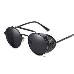 steampunk round designer sunglasses 2019 - Retro Steampunk Sunglasses goggle Round Designer Steam Punk Metal Shields Sunglasses Men Women UV400 Gafas de Sol cheap