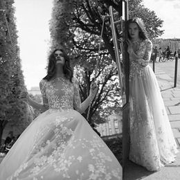 $enCountryForm.capitalKeyWord Australia - Fitted Princess liz martinez Illusion Bohemian Wedding Dresses High Neck Tulle Floral Flower Long Sleeve 2018 Cathedral Train Bridal Gown
