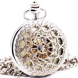 $enCountryForm.capitalKeyWord UK - Delicate Silver Stainless-steel Unisex Baroque Women Automatic Mechanical Pocket Watch Hollowed Lid Chain Luxury Fob Watches