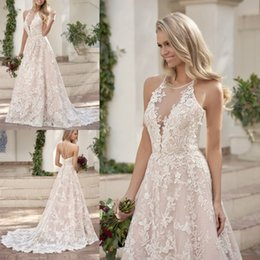 Discount watteau plus size wedding dresses - 2019 Custom Made A Line Spring and Autumn Wedding Dresses Deep V Neck Lace Applique Boho Bridal Gowns Plus Size Wedding