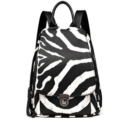 school shoulder bag women Canada - Women Zebra Pattern Leather Backpacks New Fashion Female Shoulder Travel Bag Ladies Bagpack Mochilas School Bag for Girls Preppy