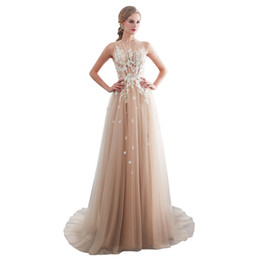 $enCountryForm.capitalKeyWord UK - 2019 New See Though Lace Prom Dresses Zipper Back A Line White Appliques Sweep Train Formal Occasion Evening Dresses Cheap Hot Sale