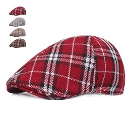 73b5507632626 Red beRet foR men online shopping - Spring Autumn Hats For Men Casual Plaid Cotton  Beret