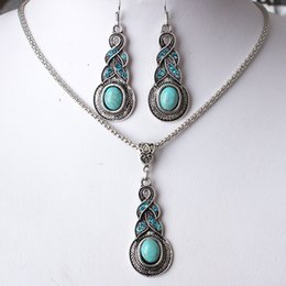 Green Turquoise Copper Earrings NZ - 12 set lot, Necklace Pendant Retro Earring suit Inlaid Turquoise blue crystal Water Drop Earring Shining Not fading Two pieces jewelry suit