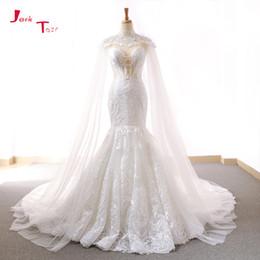 wholesale 2018 New Arrive Lace Mermaid Wedding Dresses With Tulle Shawl  Slim Elegant China Bridal Gowns Vestido Noiva Sereia edc1d5449416
